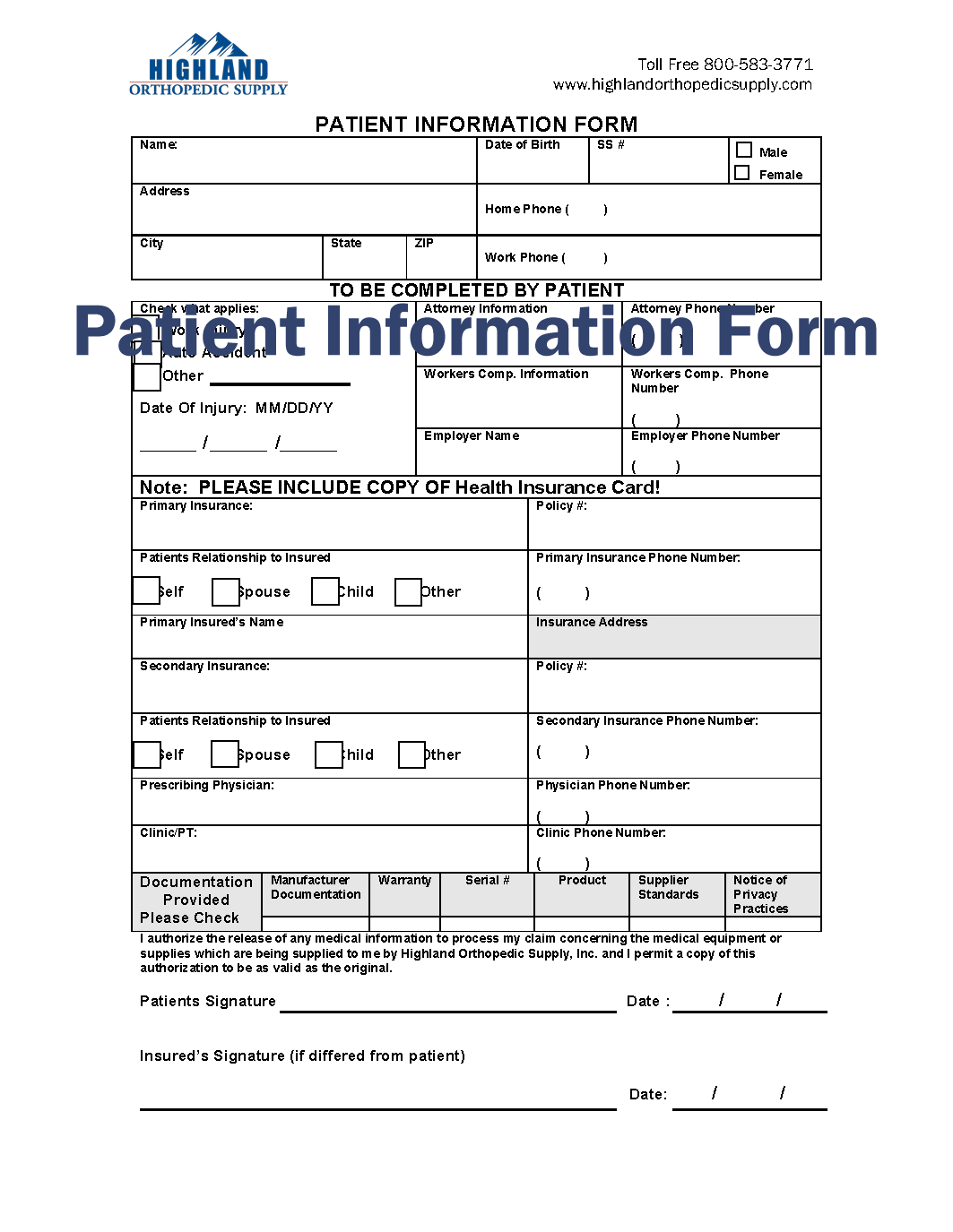 Patient Information Form patient insurance info HOS